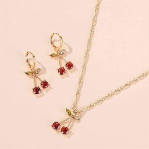 Cherry Necklace and Huggie Earring Set